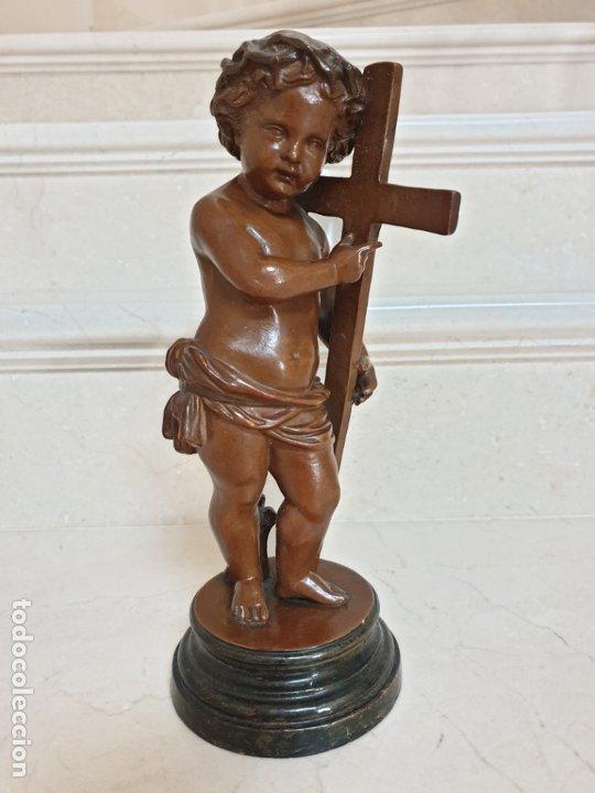 Arte: PRECIOSO NIÑO JESUS ANTIGUO EN TERRACOTA CON CRUZ Y CORONA DE ESPINAS,S. XIX - Foto 16 - 179244155