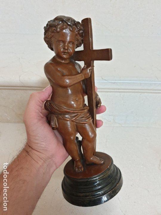 Arte: PRECIOSO NIÑO JESUS ANTIGUO EN TERRACOTA CON CRUZ Y CORONA DE ESPINAS,S. XIX - Foto 18 - 179244155