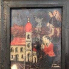 Arte: SAN ISIDRO, VIDRIO PINTADO S. XVIII. Lote 179321462