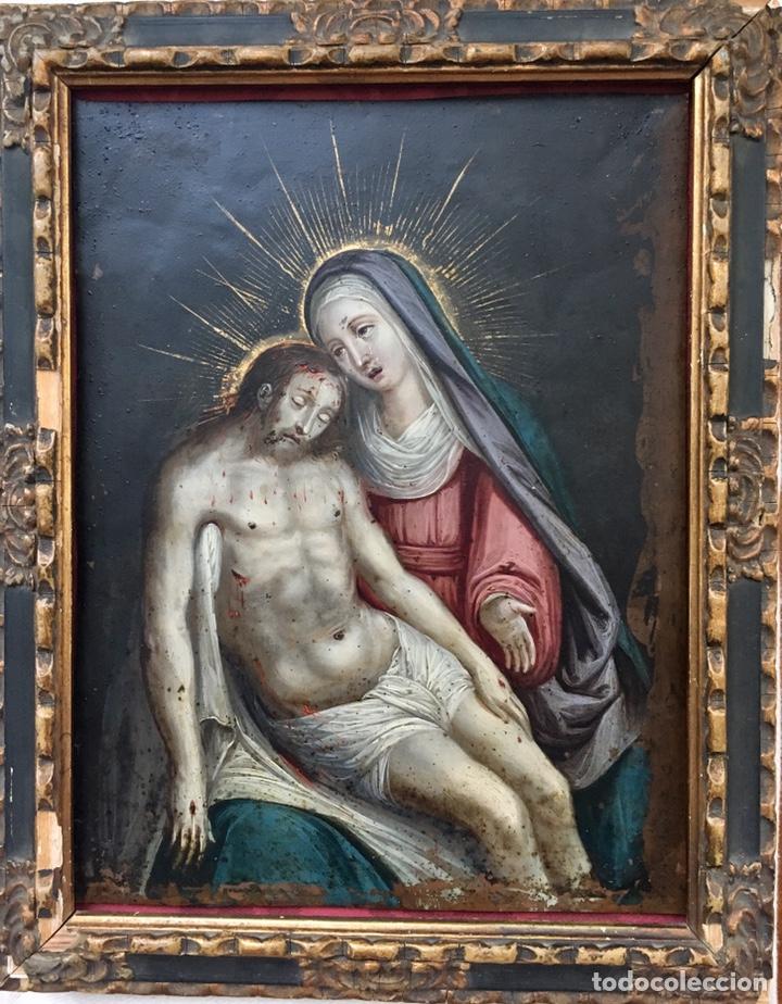 Arte: La Piedad. Óleo sobre cobre. S.XVI. Escuela española - Foto 3 - 179333900