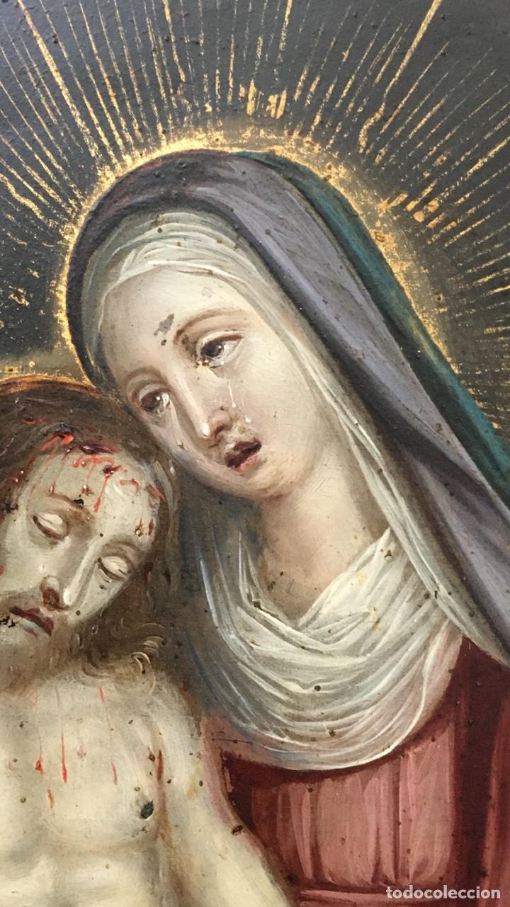 Arte: La Piedad. Óleo sobre cobre. S.XVI. Escuela española - Foto 9 - 179333900
