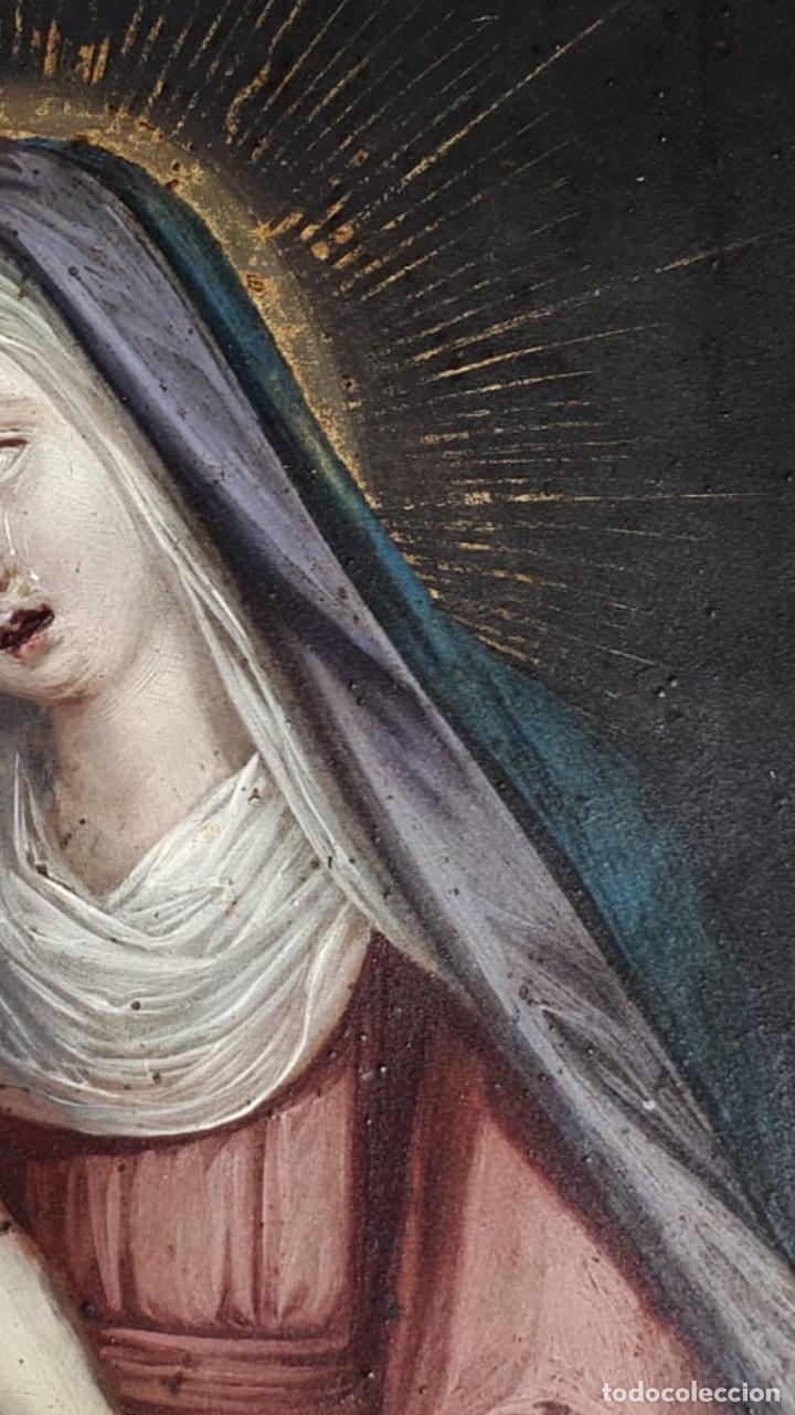 Arte: La Piedad. Óleo sobre cobre. S.XVI. Escuela española - Foto 11 - 179333900