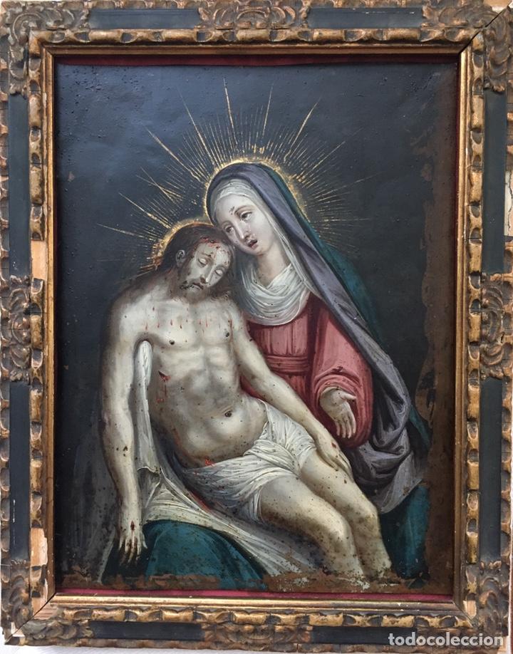 Arte: La Piedad. Óleo sobre cobre. S.XVI. Escuela española - Foto 20 - 179333900