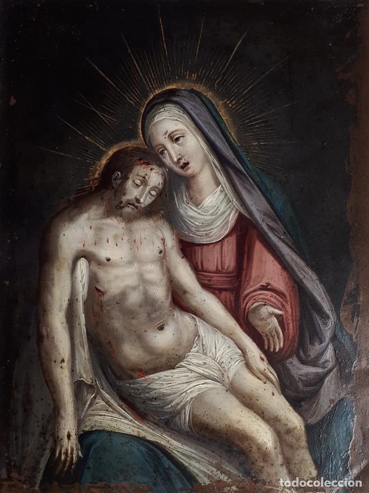 Arte: La Piedad. Óleo sobre cobre. S.XVI. Escuela española - Foto 18 - 179333900
