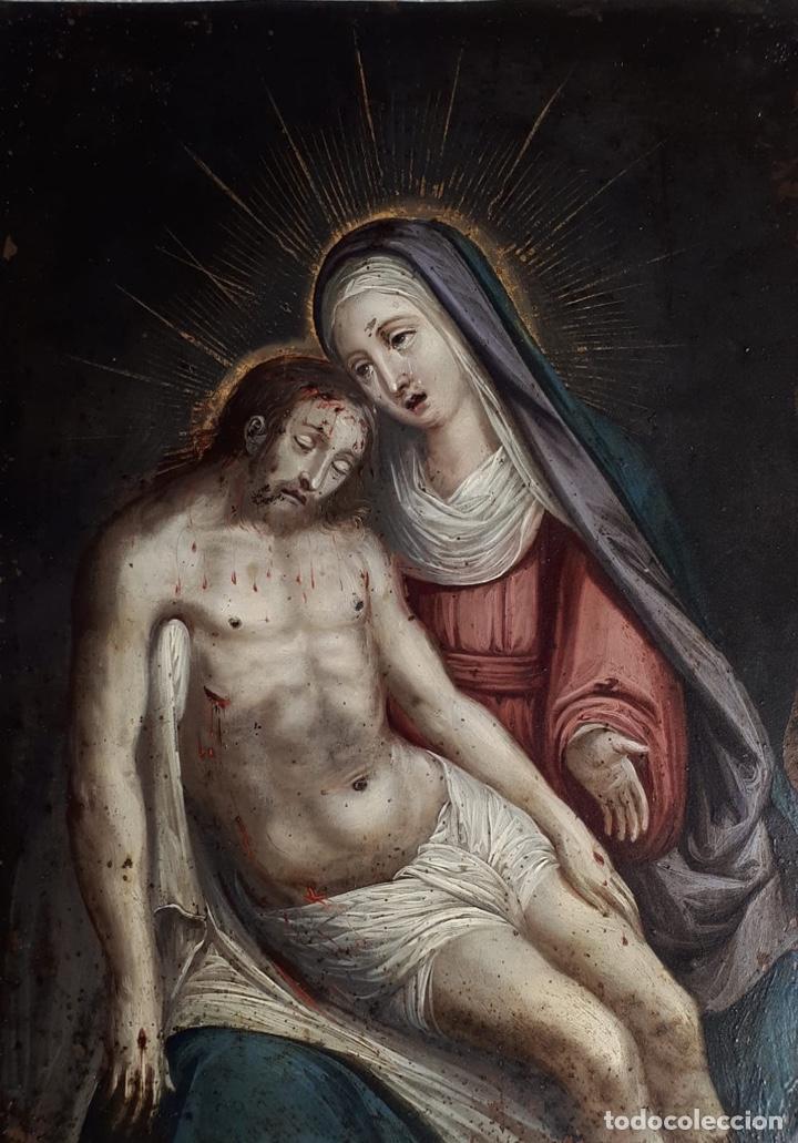 LA PIEDAD. ÓLEO SOBRE COBRE. S.XVI. ESCUELA ESPAÑOLA (Arte - Arte Religioso - Pintura Religiosa - Oleo)