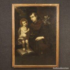 Arte: PINTURA RELIGIOSA ITALIANA SAN ANTONIO CON LIRIO Y JESÚS DEL SIGLO XVIII. Lote 179943400