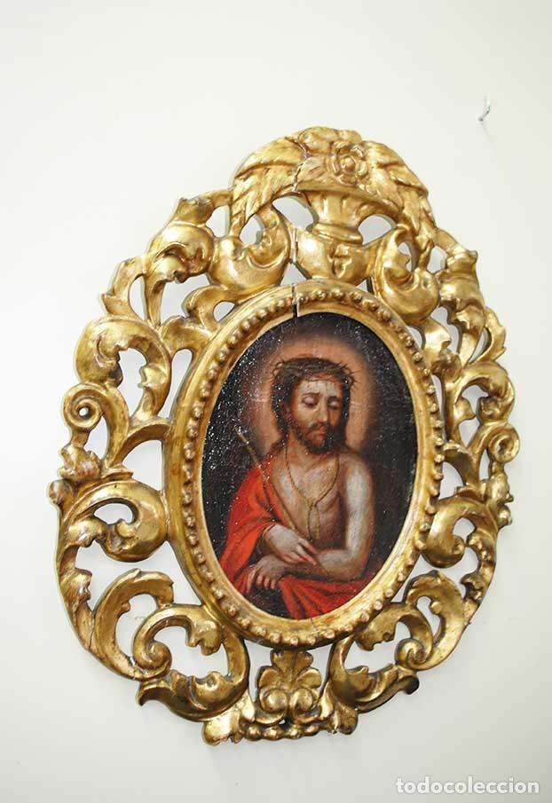 ÓLEO SOBRE LIENZO CRISTO CON MARCO TALLADO SIGLO XVIII (Arte - Arte Religioso - Pintura Religiosa - Oleo)