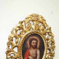 Arte: ÓLEO SOBRE LIENZO CRISTO CON MARCO TALLADO SIGLO XVIII. Lote 179944515
