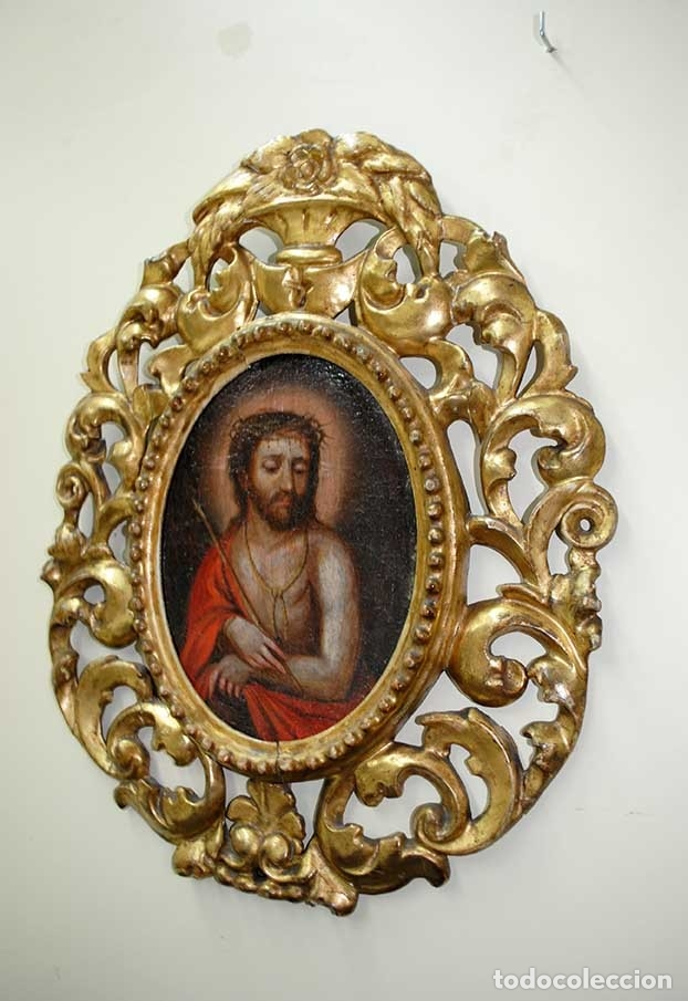 Arte: ÓLEO SOBRE LIENZO CRISTO CON MARCO TALLADO SIGLO XVIII - Foto 2 - 179944515