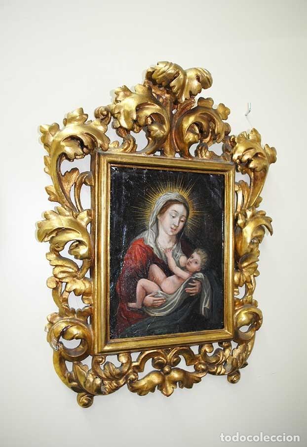 PINTURA ANTIGUA SOBRE COBRE SIGLO XVIII VIRGEN Y NIÑO (Arte - Arte Religioso - Pintura Religiosa - Otros)