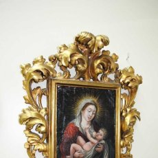 Arte: PINTURA ANTIGUA SOBRE COBRE SIGLO XVIII VIRGEN Y NIÑO. Lote 179944611
