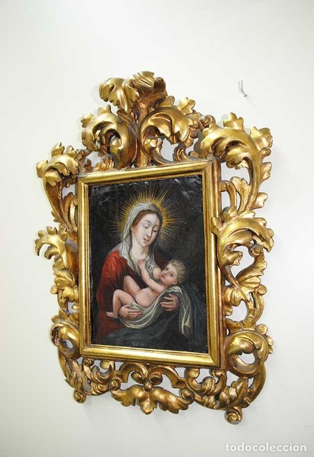 Arte: PINTURA ANTIGUA SOBRE COBRE SIGLO XVIII VIRGEN Y NIÑO - Foto 2 - 179944611