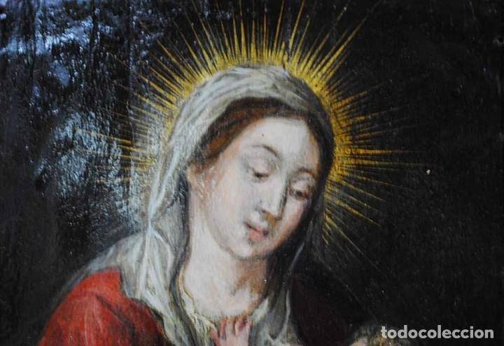 Arte: PINTURA ANTIGUA SOBRE COBRE SIGLO XVIII VIRGEN Y NIÑO - Foto 7 - 179944611