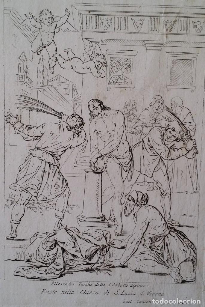 Arte: Gaetano ZANCON-Turchi dit L Orbetto , Jesús flagelado, aguafuerte, Verona, 1809 - Foto 2 - 179947203