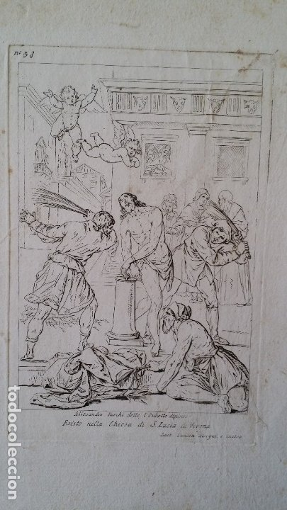 GAETANO ZANCON-TURCHI DIT L ORBETTO , JESÚS FLAGELADO, AGUAFUERTE, VERONA, 1809 (Arte - Arte Religioso - Grabados)