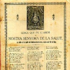 Arte: GOZOS , GOIGS NOSTRA SENYORA DE LA SALUT ,EN CATALAN , ANTIGUO , ORIGINAL , DC16. Lote 180024830
