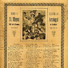 Arte: GOZOS , GOIGS LLAHOR DE SANT MIQUEL ARCANGEL BISBAT DE VICH ,EN CATALAN , ANTIGUO ,ORIGINAL , DC27. Lote 180026342