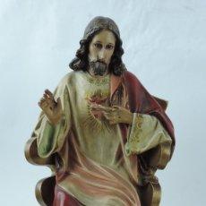 Arte: FIGURA DE SAGRADO CORAZÓN DE JESÚS, ENTRONIZADO. TRONO. ESCUELA DE OLOT. OJOS DE CRISTAL. LE FALTA E. Lote 180072000