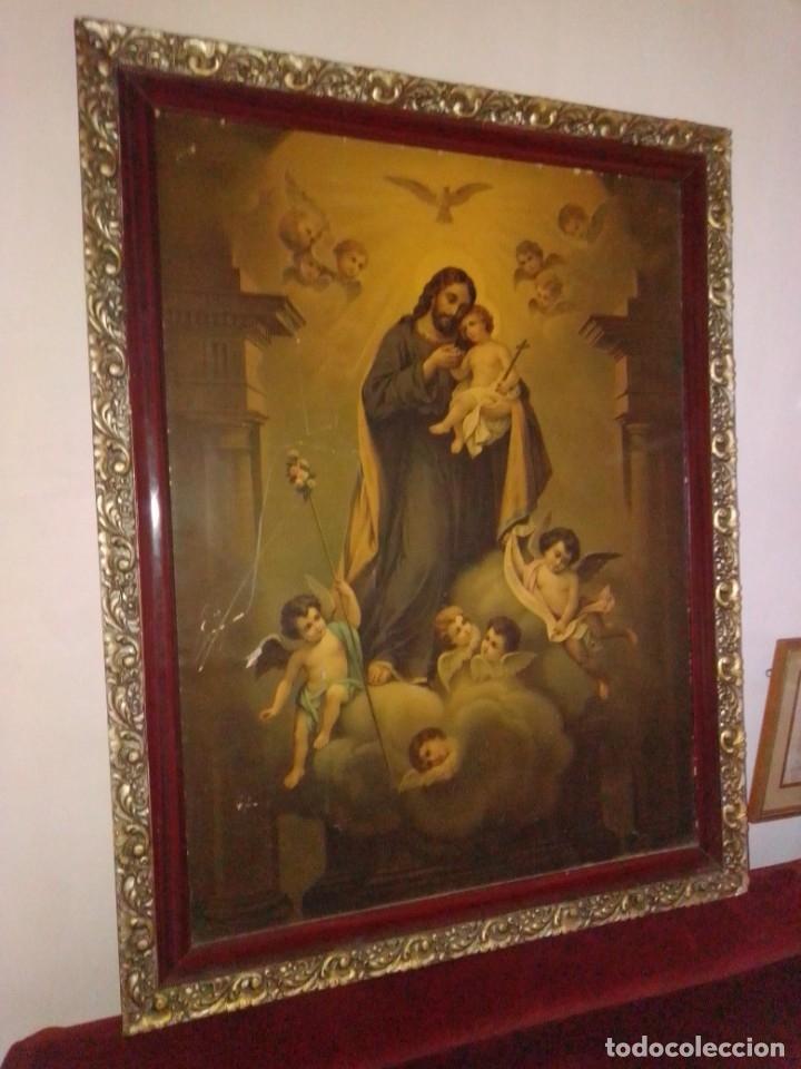 ANTIGUA Y GRANDE LITOGRAFÍA CON SAN JOSÉ Y EL NIÑO JESÚS. (Arte - Arte Religioso - Litografías)