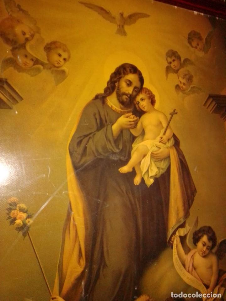 Arte: Antigua y grande litografía con San José y el Niño Jesús. - Foto 2 - 180087038