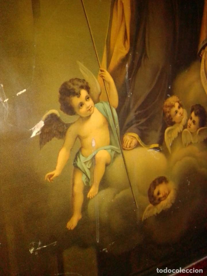 Arte: Antigua y grande litografía con San José y el Niño Jesús. - Foto 3 - 180087038