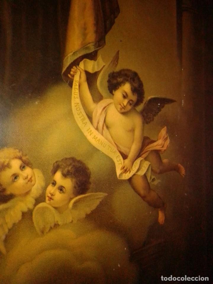 Arte: Antigua y grande litografía con San José y el Niño Jesús. - Foto 4 - 180087038