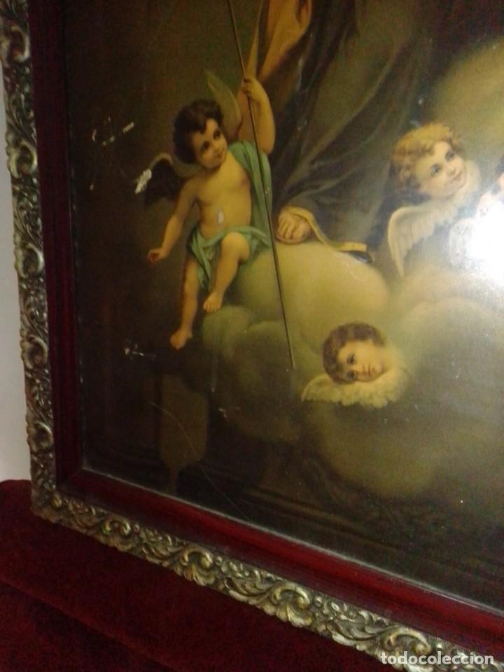 Arte: Antigua y grande litografía con San José y el Niño Jesús. - Foto 8 - 180087038