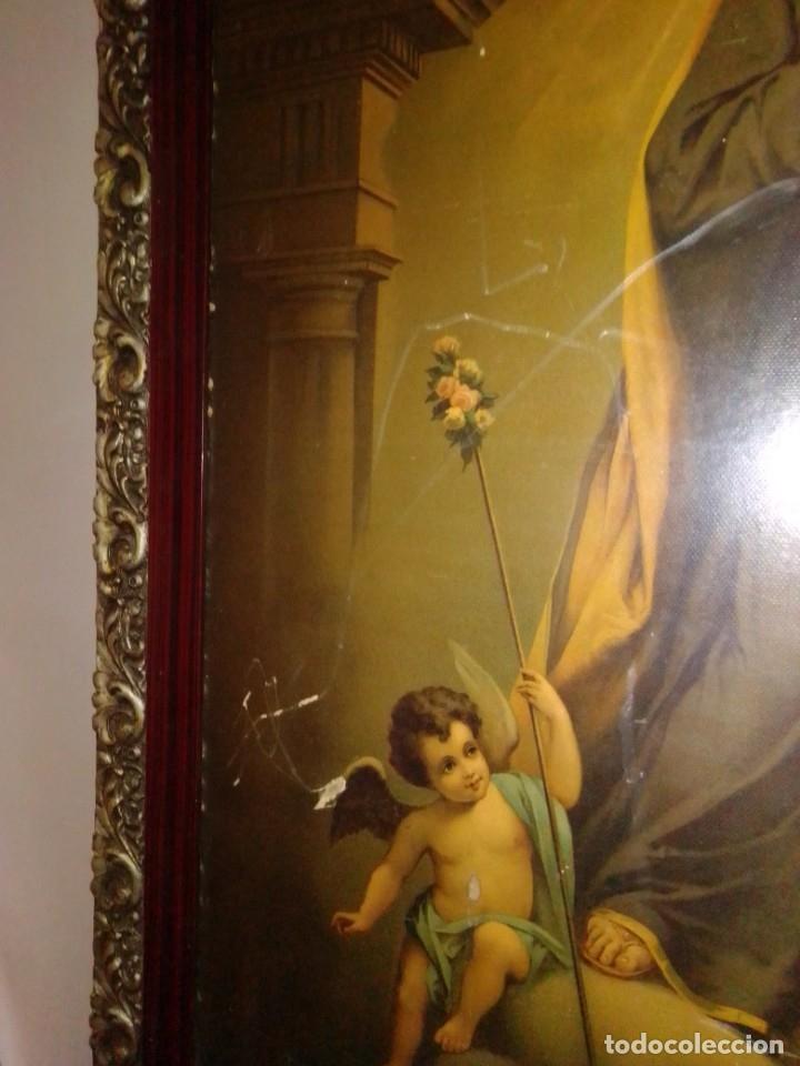 Arte: Antigua y grande litografía con San José y el Niño Jesús. - Foto 9 - 180087038