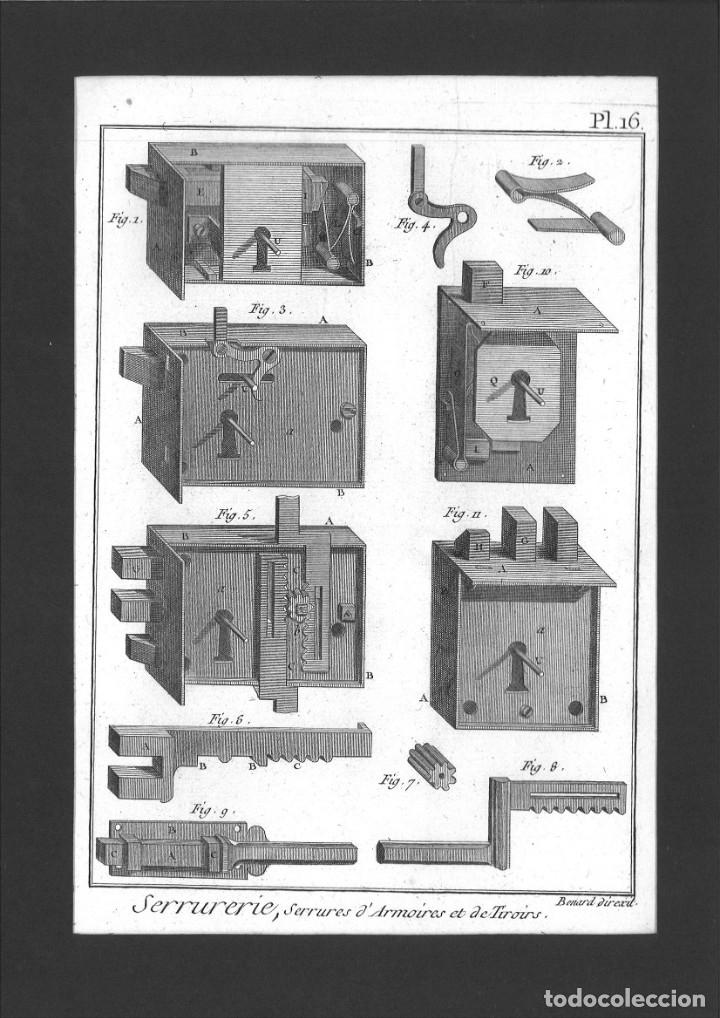BERNARD DIREXIT. GRABADO SIGLO XVIII: SERRURERIE, SERRURES D'ARMOIRES ET DE TIROIRS (Arte - Arte Religioso - Grabados)