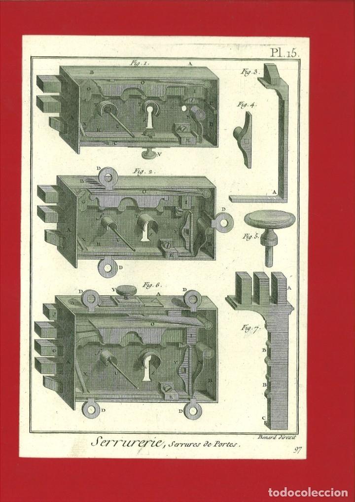 BERNARD DIREXIT. GRABADO SIGLO XVIII: SERRURERIE, SERRURES DE PORTES (Arte - Arte Religioso - Grabados)