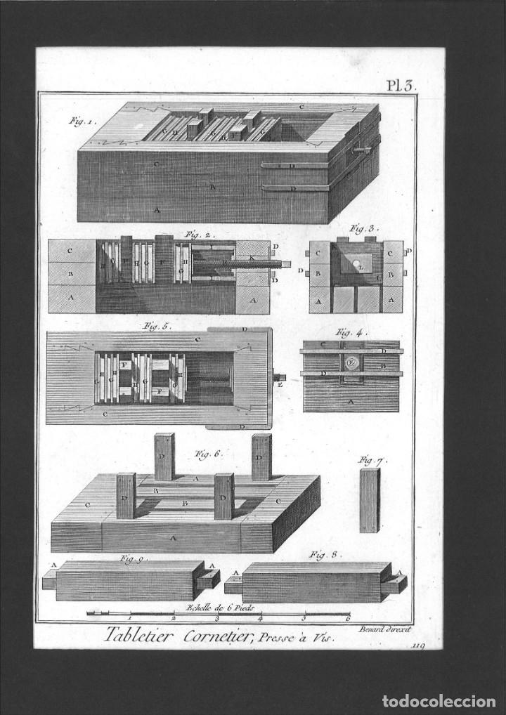 BERNARD DIREXIT. GRABADO SIGLO XVIII: TABLETIER CORNETIER, PRESSE A VIS (Arte - Arte Religioso - Grabados)