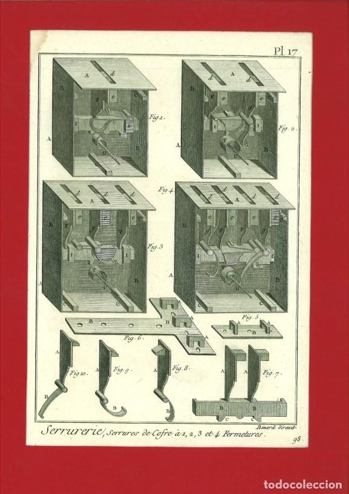 BERNARD DIREXIT. GRABADO SIGLO XVIII: SERRURERIE, SERRURES DE COFRE À 1, 2 ,3 ET 4 FERMETURES (Arte - Arte Religioso - Grabados)