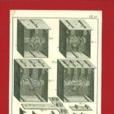 Arte: BERNARD DIREXIT. GRABADO SIGLO XVIII: SERRURERIE, SERRURES DE COFRE À 1, 2 ,3 ET 4 FERMETURES. Lote 180118710