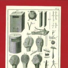 Arte: BERNARD DIREXIT. GRABADO SIGLO XVIII: PERRUQUIER-BARBIER, ETUVE ET PRÉPARATION DE LA PERRUQUE. Lote 180118938