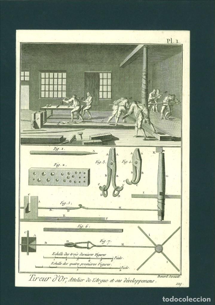 BERNARD DIREXIT. GRABADO SIGLO XVIII: TIREUR D'OR, ATTELIER DE L'ARQUE ET SES DÉVELOPPEMENS (Arte - Arte Religioso - Grabados)
