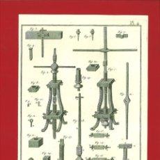 Arte: BERNARD DIREXIT. GRABADO SIGLO XVIII: TAILLANDERIE, MACHINE À TARRAUDER LES BOËTES ET VIS D'ETAUX. Lote 180120645