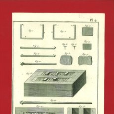 Arte: BERNARD DIREXIT. GRABADO S. XVIII: TABLETIER CORNETIER, DETAILS DE LA PRESSE A VIS ET PRESSE A COIN. Lote 180121231