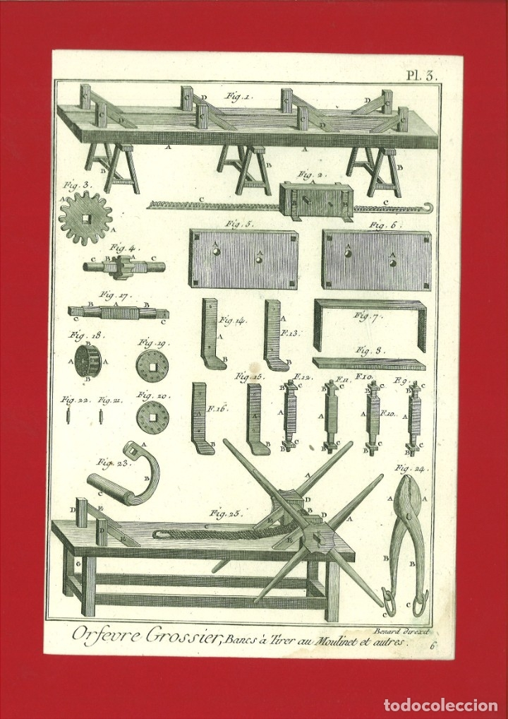 BERNARD DIREXIT. GRABADO SIGLO XVIII: ORFEVRE GROSSIER , BONES À TIRER AU MOULINET ET AUTRES (Arte - Arte Religioso - Grabados)