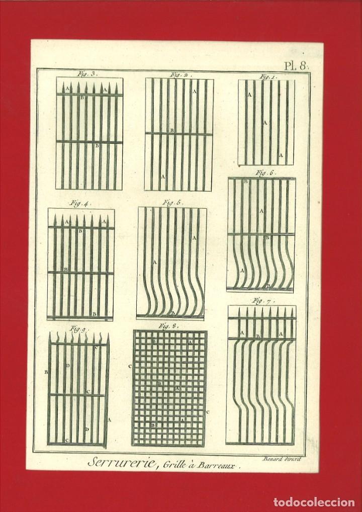 BERNARD DIREXIT. GRABADO SIGLO XVIII: SERRURERIE, GRILLE À BARREAUX (Arte - Arte Religioso - Grabados)
