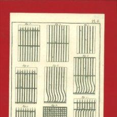 Arte: BERNARD DIREXIT. GRABADO SIGLO XVIII: SERRURERIE, GRILLE À BARREAUX. Lote 180123806