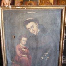 Arte: SAN ANTONIO, PINTURA AL OLEO DEL SIGLO XVIII A RESTAURAR. TELA 60 X 81 CM MARCO 67 X 88 CM. Lote 180161338