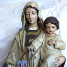Arte: VIRGEN DEL CARMEN, IMAGEN DE EL ARTE CRISTIANO. OLOT. FABRICACIÓN ANTIGUA. 1920. Lote 180173091