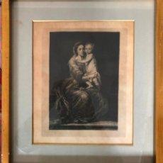 Arte: GRABADO DE LA VIRGEN DEL ROSARIO DE MURILLO REALIZADO POR BARTOLOMÉ DE MAURA EN 1874. Lote 180205870