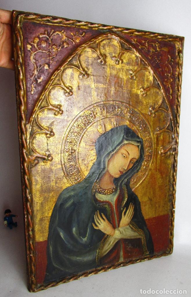 MARAVILLOSO RETABLO AL OLEO EN MADERA TIPO GOTICO HISPANO FLAMENCO IMAGEN VIRGEN AVE MARIA (Arte - Arte Religioso - Retablos)