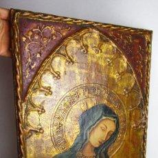 Arte: MARAVILLOSO RETABLO AL OLEO EN MADERA TIPO GOTICO HISPANO FLAMENCO IMAGEN VIRGEN AVE MARIA . Lote 180251497