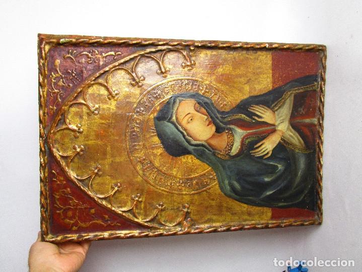 Arte: MARAVILLOSO RETABLO AL OLEO EN MADERA TIPO GOTICO HISPANO FLAMENCO IMAGEN VIRGEN AVE MARIA - Foto 4 - 180251497