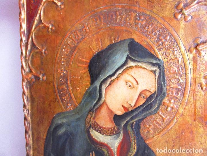 Arte: MARAVILLOSO RETABLO AL OLEO EN MADERA TIPO GOTICO HISPANO FLAMENCO IMAGEN VIRGEN AVE MARIA - Foto 6 - 180251497