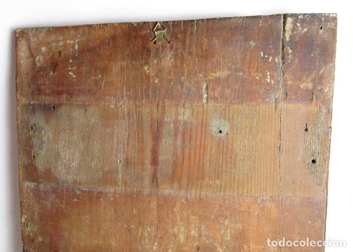 Arte: MARAVILLOSO RETABLO AL OLEO EN MADERA TIPO GOTICO HISPANO FLAMENCO IMAGEN VIRGEN AVE MARIA - Foto 8 - 180251497