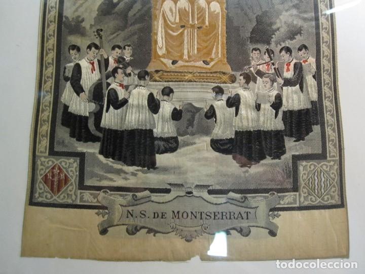 Arte: ESCOLANIA CON NTRA. SRA. DE MONTSERRAT, ESTAMPADO EN TELA, ENMARCADO - Foto 5 - 180256652