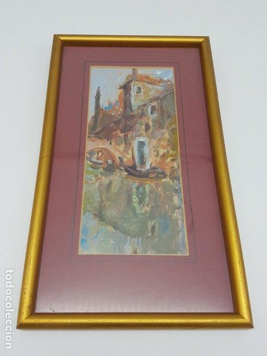 PEQUEÑO ÓLEO DE VENECIA SOBRE CARTULINA ( FIRMADO REBESCO ) (Arte - Arte Religioso - Pintura Religiosa - Oleo)
